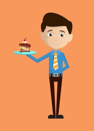 Salesman Employee - Presenting a Cake Иллюстрация