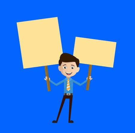 Salesman Employee - Holding Placards in Both Hands Иллюстрация