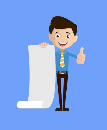 Salesman Employee - Holding a Paper Scroll and Showing Thumbs Up Иллюстрация