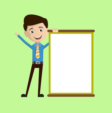 Salesman Employee - Joyfully Presenting a Blank  Board