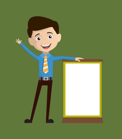 Salesman Employee - Standing with a Blank Board