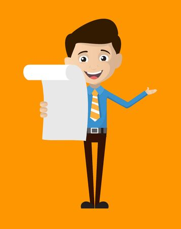Salesman Employee - Holding a Paper and Announcing