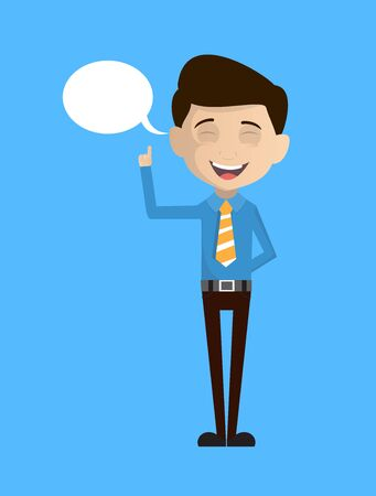 Salesman Employee - Smiling and Pointing to Speech Bubble