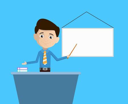 Salesman Employee - Presenting on White Board