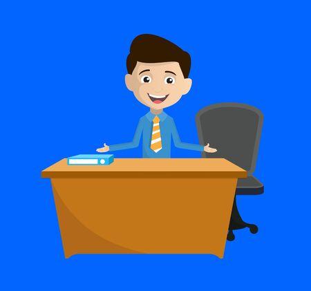 Salesman Employee - Talking with Hand Gesture