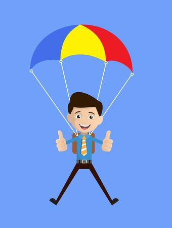 Salesman Employee - Successful Landing with Parachute