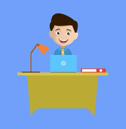 Salesman Employee - Working on Laptop Иллюстрация