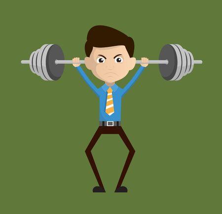 Salesman Employee - Doing Weight Lifting