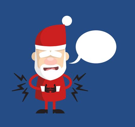 Simple Cartoon Santa - Feeling Pain in Stomach with Speech Bubble
