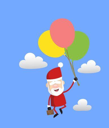 Simple Cartoon Santa - Flying with Balloons Illusztráció