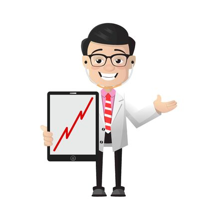 Surgeon - Presenting Profit Growing Graph on Tablet 向量圖像