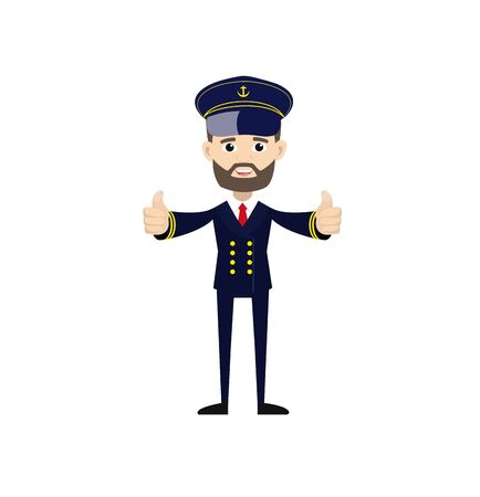 Ship Captain Pilot - Double Thumbs Up Vector  イラスト・ベクター素材