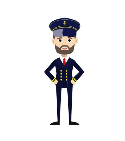 Ship Captain Pilot - in happy mood vector  イラスト・ベクター素材