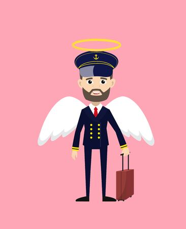 Ship Captain Pilot - in Angel Costume Vector  イラスト・ベクター素材