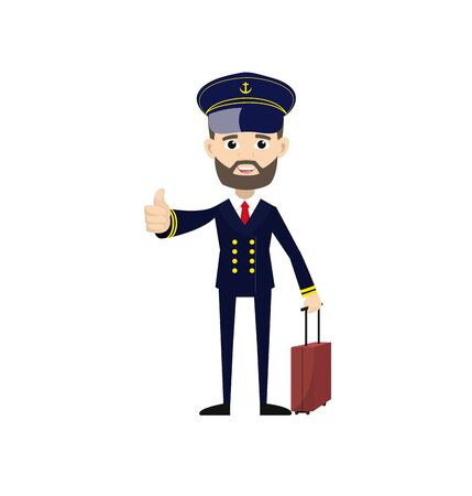 Ship Captain Pilot - Showing a Thumb Up Vector