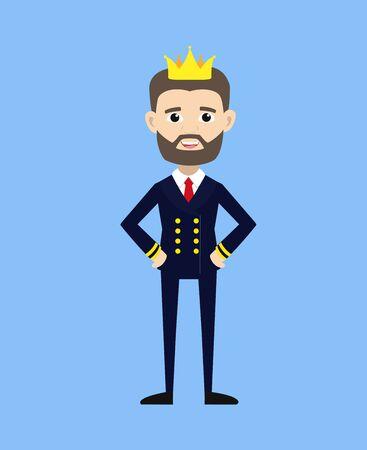 Ship Captain Pilot - Wearing a Crown Vector