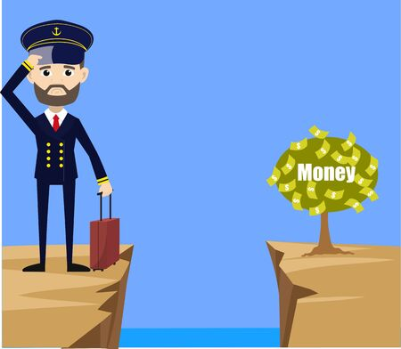 Ship Captain Pilot - Thinking How to Reach Close to Money Plant