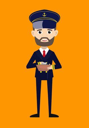 Ship Captain Pilot - Preparing Report in Happy Mood 向量圖像