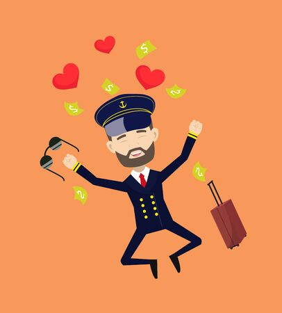 Ship Captain Pilot - Jumping with Hearts and Money  イラスト・ベクター素材