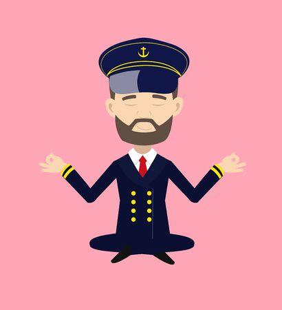 Ship Captain Pilot - Doing Meditation 向量圖像