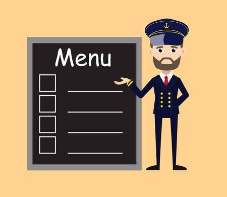 Ship Captain Pilot - Presenting Menu List Vectores