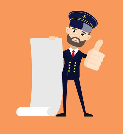Ship Captain Pilot - Holding a Paper Scroll and Showing Thumbs Up  イラスト・ベクター素材
