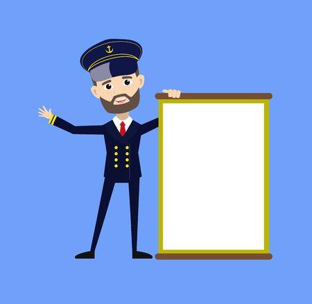 Ship Captain Pilot - Joyfully Presenting a Blank  Board