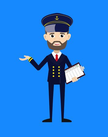 Ship Captain Pilot - Holding a Checklist and Showing with Hand Gesture