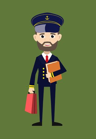 Ship Captain Pilot - Standing with File and Briefcase
