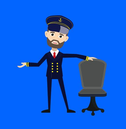 Ship Captain Pilot - Standing with Chair and Gesturing with Hand