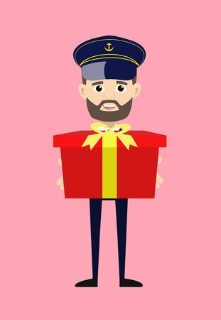 Ship Captain Pilot - Presenting a Gift Box  イラスト・ベクター素材