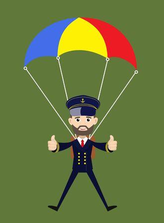 Ship Captain Pilot - Successful Landing with Parachute 向量圖像