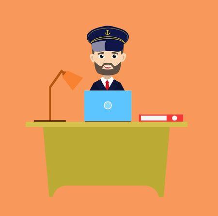 Ship Captain Pilot - Working on Laptop