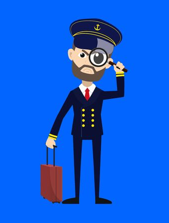 Ship Captain Pilot - Watching with Magnifier  イラスト・ベクター素材