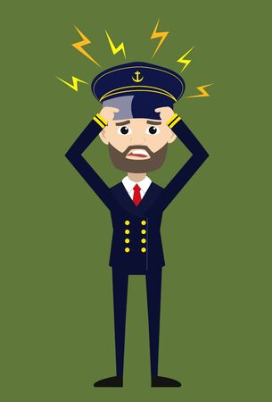 Ship Captain Pilot - with Worried Face Ilustrace