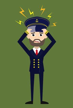 Ship Captain Pilot - with Worried Face Illustration