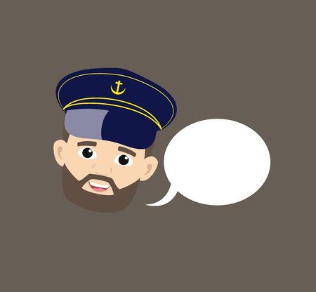 Ship Captain Pilot - with Speech Bubble 向量圖像
