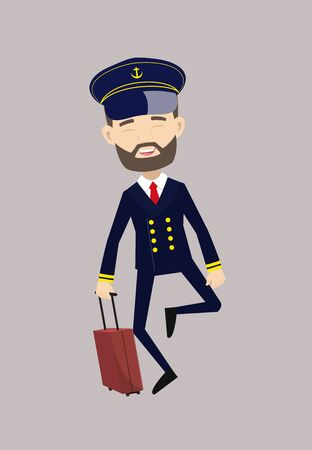 Ship Captain Pilot - Cheerful Face with Holding Suitcase
