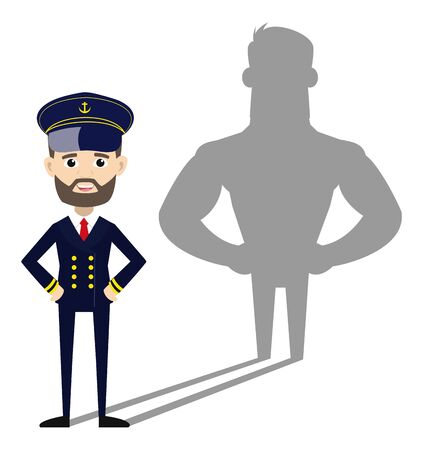 Ship Captain Pilot - Standing in Positive Attitude  イラスト・ベクター素材