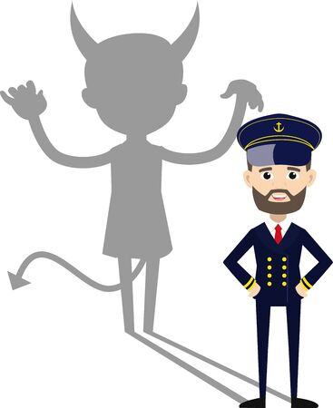 Ship Captain Pilot - Devil person Standing with Fake Smile  イラスト・ベクター素材