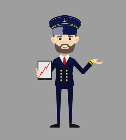 Ship Captain Pilot - Presenting Profit Growing Graph on Tablet