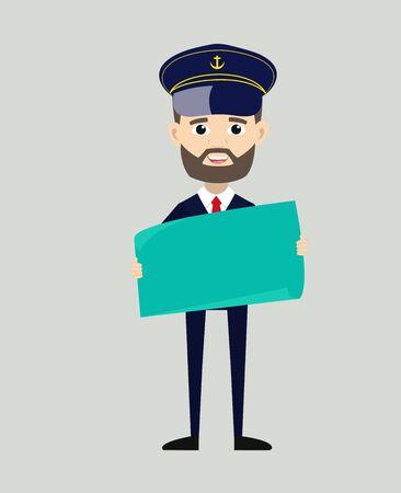 Ship Captain Pilot - Holding a Paper Banner