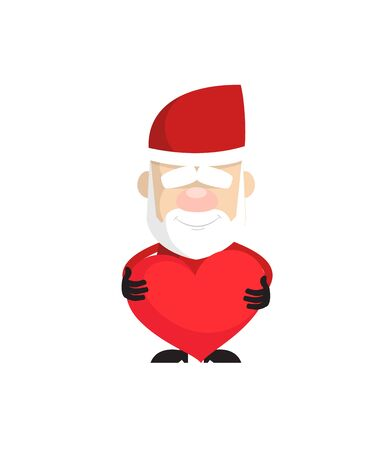 Simple Cartoon Santa - Standing with a Heart  イラスト・ベクター素材