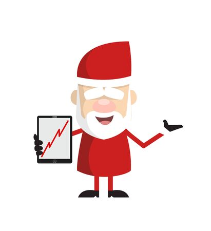 Simple Cartoon Santa - Presenting Profit Growing Graph on Tablet