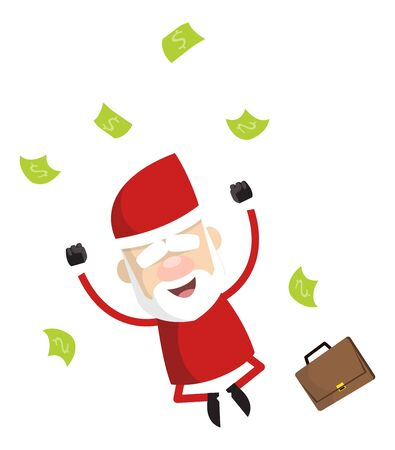 Simple Cartoon Santa - Jumping in Excitement with money  イラスト・ベクター素材