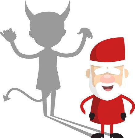 Simple Cartoon Santa - Devil person Standing with Fake Smile
