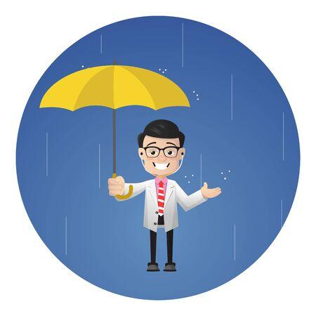 Surgeon - Standing in Rain with Umbrella 向量圖像