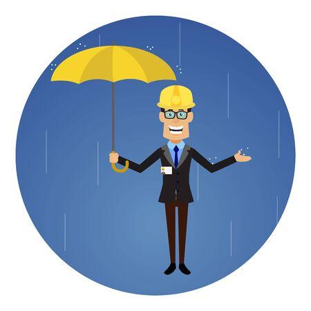 Technician Engineer Worker - Standing in Rain with Umbrella