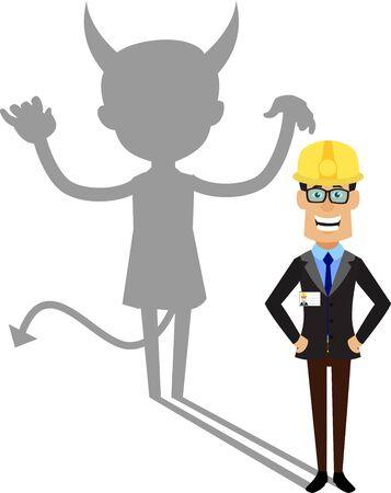Ingeniero Técnico Trabajador - Persona diablo de pie con sonrisa falsa Ilustración de vector