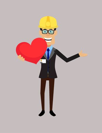 Technician Engineer Worker - Holding a Heart and Showing with Hand  イラスト・ベクター素材